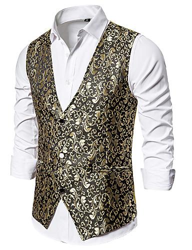 voordelige Herenblazers & kostuums-Heren Vest, Geometrisch V-hals Polyester Zwart / Wit / Goud