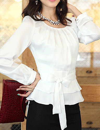 billige Dametopper-Skjorte Dame - Ensfarget, Sløyfe Gatemote Hvit