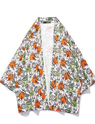 voordelige Herenjacks & jassen-Heren Dagelijks Normaal kimono Jacket, Fruit V-hals Lange mouw Polyester Oranje