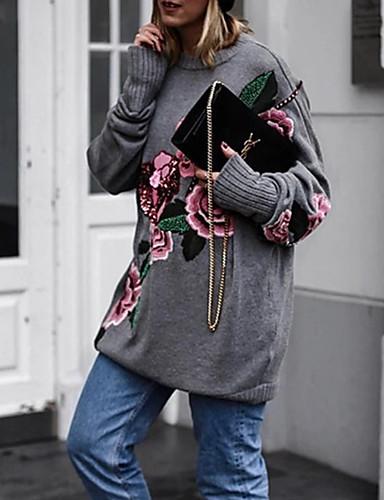 abordables Hauts pour Femmes-Femme Fleur Manches Longues Pullover Gris S / M / L