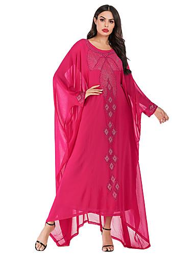 voordelige Maxi-jurken-Dames Vintage Elegant Chiffon Abaya Jurk - Effen, Pailletten Geborduurd Maxi