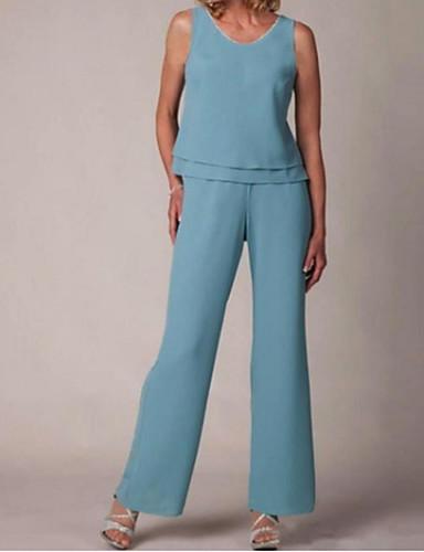 voordelige Wrap Dresses-pantsuit Met sieraad Tot de grond Polyester Bruidsmoederjurken met Ruches door LAN TING Express / Wrap inbegrepen