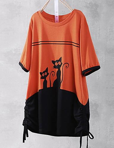billige Topper til damer-T-skjorte Dame - Tegneserie, Trykt mønster Gatemote Oransje