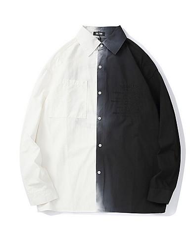 voordelige Herenoverhemden-Heren Overhemd Kleurenblok Zwart