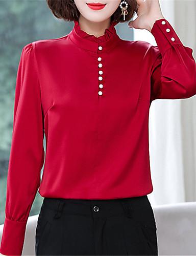 billige Topper til damer-Skjorte Dame - Ensfarget Chinoiserie / Elegant Hvit