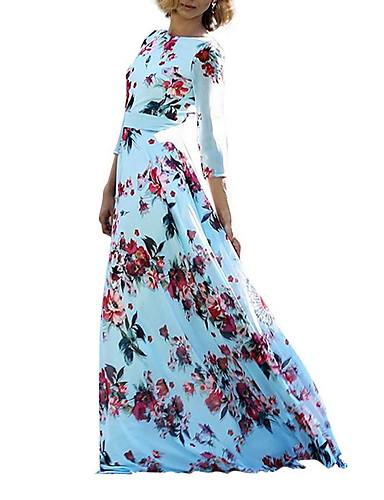 voordelige Maxi-jurken-Dames Elegant Wijd uitlopend Jurk - Bloemen, Pailletten Maxi