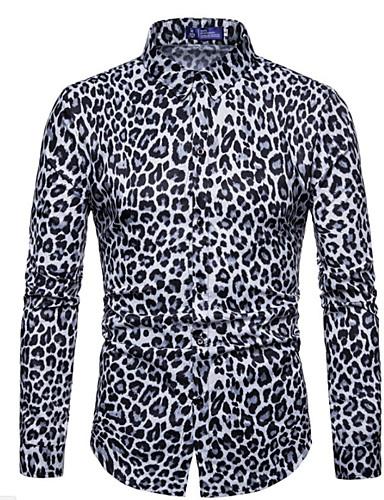 voordelige Herenoverhemden-Heren Overhemd Luipaard Wit