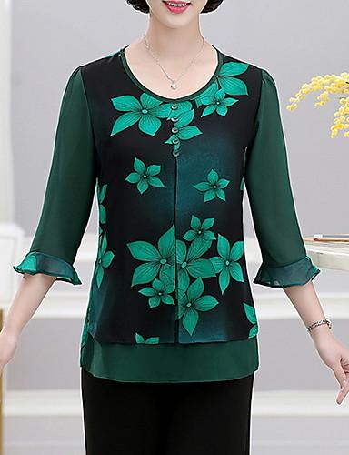 billige Dametopper-Store størrelser T-skjorte Dame - Geometrisk Svart