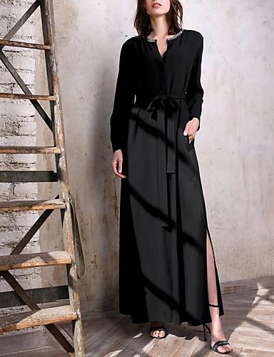 voordelige Maxi-jurken-Dames Elegant Recht Jurk - Effen Maxi