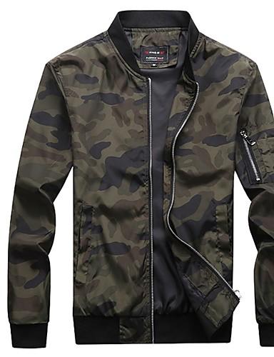 voordelige Herenjacks & jassen-Heren Dagelijks Normaal Jack, camouflage Opstaand Lange mouw Polyester Zwart / Leger Groen