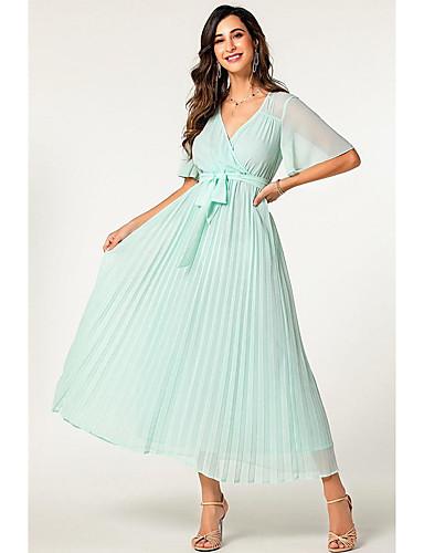 voordelige Maxi-jurken-Dames Standaard Schede Jurk - Effen, Geplooid Patchwork Trekkoord Maxi