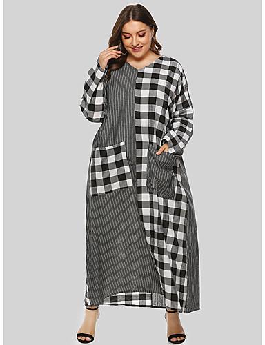 voordelige Grote maten jurken-Dames Standaard Wijd uitlopend Jurk - Kleurenblok Blokken, Patchwork Maxi Zwart & Wit