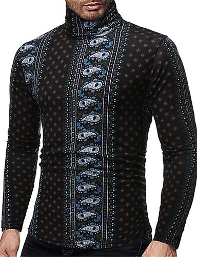 voordelige Heren T-shirts & tanktops-Heren Standaard / Elegant T-shirt Bloemen / Kleurenblok Zwart