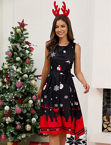 voordelige Kerstwinkel-Dames Elegant A-lijn Jurk - Geometrisch Tot de knie