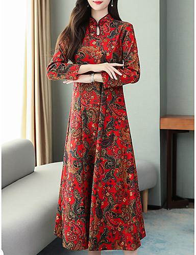 voordelige Grote maten jurken-Dames Vintage Chinoiserie A-lijn Jurk - Bloemen Geometrisch, Print Midi