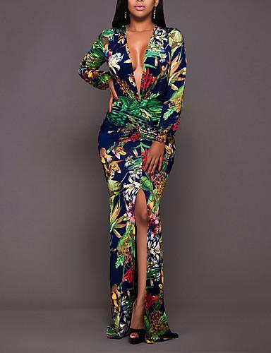 voordelige Maxi-jurken-Dames Punk & Gothic Elegant Bodycon Schede Jurk - Geometrisch, Split Print Maxi