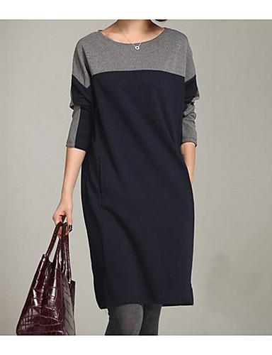 voordelige Grote maten jurken-Dames T Shirt Jurk - Kleurenblok Boven de knie