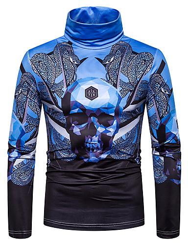 voordelige Heren T-shirts & tanktops-Heren Standaard / Street chic Patchwork / Print T-shirt Kleurenblok / 3D / Doodskoppen blauw