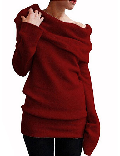 billige Dametopper-Dame Ensfarget Langermet Pullover, Løse skuldre Svart / Vin / Oransje S / M / L