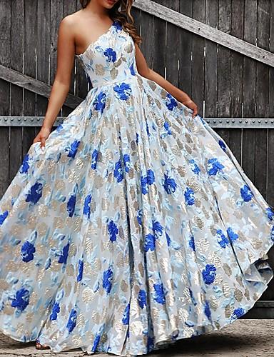 voordelige Maxi-jurken-Dames Elegant Wijd uitlopend Jurk - Bloemen Maxi
