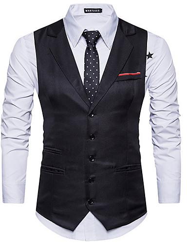 voordelige Herenblazers & kostuums-Heren Vest, Effen Ingesneden revers Polyester Zwart / Marineblauw / Khaki