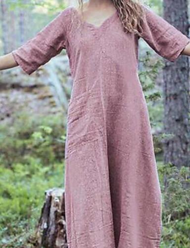 voordelige Maxi-jurken-Dames A-lijn Jurk - Effen Maxi