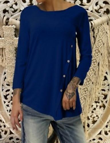 billige Topper til damer-T-skjorte Dame - Ensfarget Svart