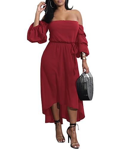 voordelige Maxi-jurken-Dames Standaard Schede Jurk - Effen Asymmetrisch
