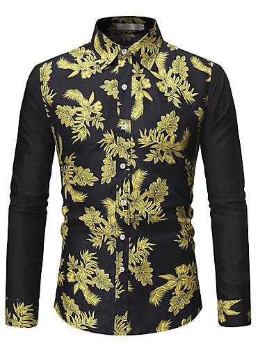 voordelige Herenoverhemden-Heren Denim Overhemd Bloemen Zwart