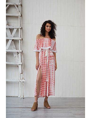 voordelige Maxi-jurken-Dames Standaard Boho Schede Wijd uitlopend Jurk - Tie Dye, Ruche Met ruches Split Maxi