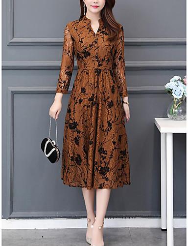 voordelige Grote maten jurken-Dames Street chic Elegant A-lijn Jurk - Bloemen, Geplooid Midi