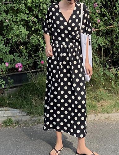 voordelige Maxi-jurken-Dames Standaard A-lijn Jurk - Polka dot, Print Maxi