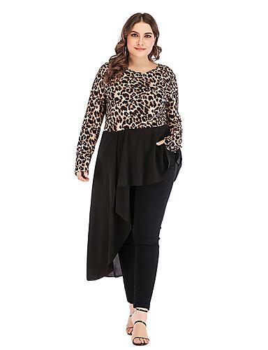 voordelige Grote maten jurken-Dames Standaard Chiffon Jurk - Luipaard Asymmetrisch