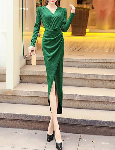 voordelige Maxi-jurken-Dames Vintage Elegant Bodycon Jurk - Effen, Met ruches Maxi
