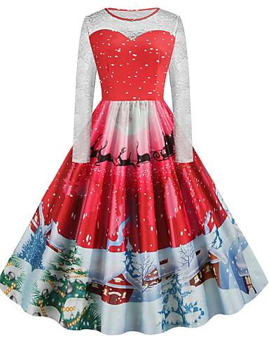 voordelige Grote maten jurken-Dames Standaard A-lijn Jurk - Geometrisch, Print Tot de knie