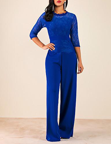 povoljno Ženske majice-Žene Aktivan Crn Lila-roza Plava Jumpsuits, Jednobojni Čipka S M L