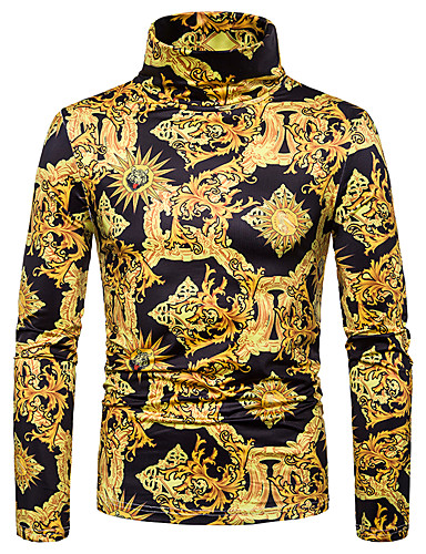 voordelige Heren T-shirts & tanktops-Heren Standaard / Street chic Patchwork / Print T-shirt Kleurenblok / 3D / Grafisch Goud