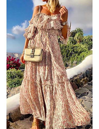 voordelige Maxi-jurken-Dames A-lijn Jurk - Geometrisch, Print Maxi