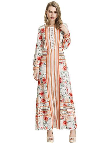 voordelige Maxi-jurken-Dames Schede Jurk - Bloemen Maxi