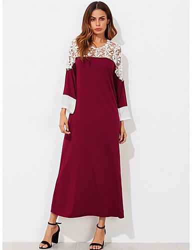 voordelige Maxi-jurken-Dames T Shirt Jurk - Kleurenblok Maxi