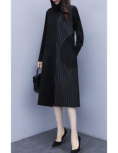 voordelige Grote maten jurken-Dames A-lijn Klein en zwart Jurk - Gestreept Midi