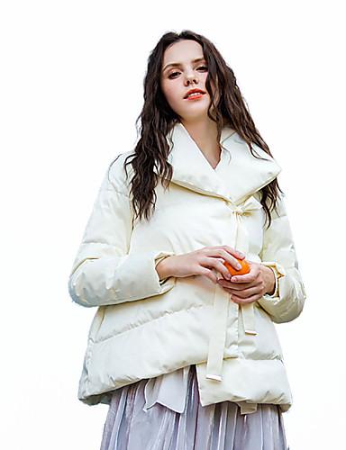 voordelige Dames donsjassen & parka's-Dames Effen Kort Parka, POLY Wit / Blozend Roze M / L / XL