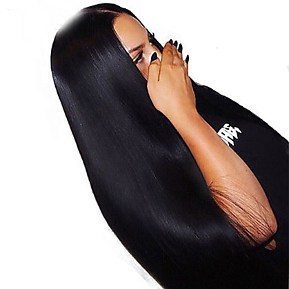 Ljudska kosa Lace Front Perika Duboko udaljavanje Stražnji dio stil Brazilska kosa Prirodno ravno Perika 250% Gustoća kose s dječjom kosom Dar Rasprodaja Udobnost Natural Žene Dug Perike s ljudskom