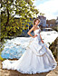 cheap Wedding Dresses-Ball Gown Strapless Chapel Train Satin Custom Wedding Dresses with Bowknot Beading Appliques Pick Up Skirt by LAN TING BRIDE®