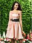 levne Šaty pro družičky-A-Linie Princess Bez ramínek Ke kolenům Organza Šaty pro družičky s Mašle Nabírání Květina(y) Šerpa / Stuha podle LAN TING BRIDE®