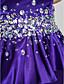 Tube / kolonne Kæreste Gulvlang Charmeuse Formel aften Kjole med Krystaldetaljering Draperet ved TS Couture®
