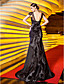 ieftine Rochii de Seară-Trompetă / Sirenă Curele de Mătura / Trenă Dantelă Satin Stretch Seară Formală Bal Militar Rochie cu Flori de TS Couture®