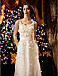 preiswerte Hochzeitskleider-A-Linie U-Ausschnitt Boden-Länge Tüll Benutzerdefinierte Brautkleider mit Stickerei Blume durch LAN TING BRIDE®