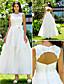 preiswerte Hochzeitskleider-A-Linie Schmuck Knöchel-Länge Spitze Benutzerdefinierte Brautkleider mit Applikationen durch LAN TING BRIDE®