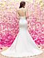 voordelige Trouwjurken-Zeemeermin / trompetjuwel sweep / borstel train satijn tule trouwjurk met kralenknoop door lan ting bride®